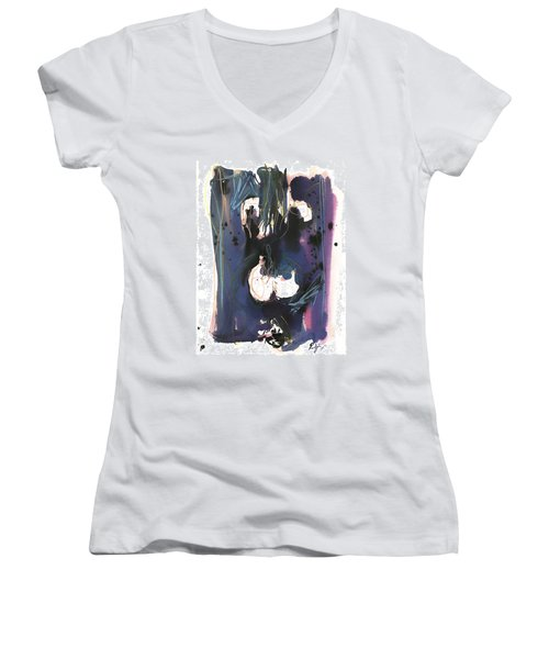 Kneeling Women's V-Neck T-Shirt (Junior Cut) by Robert Joyner