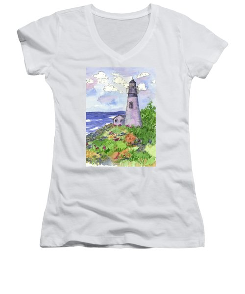 Women's V-Neck T-Shirt (Junior Cut) featuring the painting Lighthouse In Summer  by Cathie Richardson