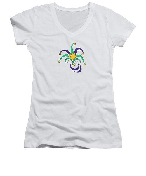 Mardi Gras Jester Women's V-Neck T-Shirt