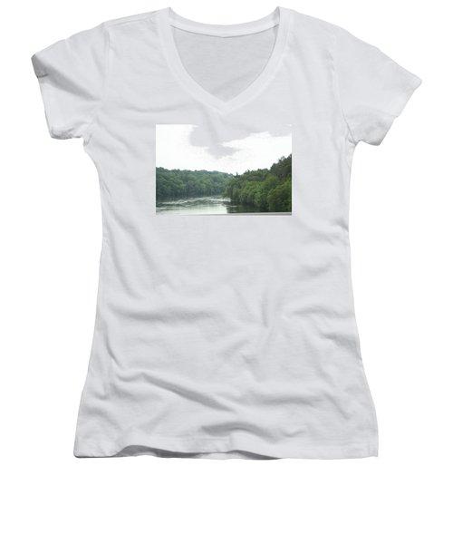Mighty Merrimack River Women's V-Neck T-Shirt (Junior Cut) by Barbara S Nickerson