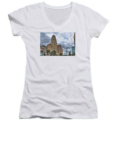 Women's V-Neck T-Shirt (Junior Cut) featuring the photograph Piercing The Heavens by Michael Frank Jr