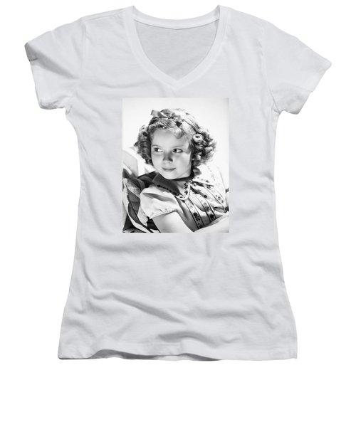 Shirley Temple (1928-  ) Women's V-Neck T-Shirt (Junior Cut) by Granger