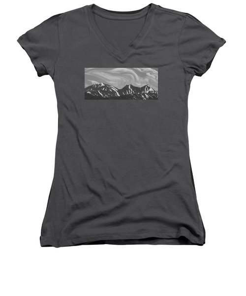 Black Day Mountain Women's V-Neck (Athletic Fit)