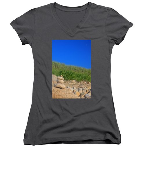 Cairn Dunes And Moon Women's V-Neck T-Shirt (Junior Cut) by Todd Breitling