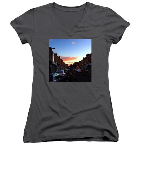 Cartoon Skies Over Middlesbrough Today Women's V-Neck