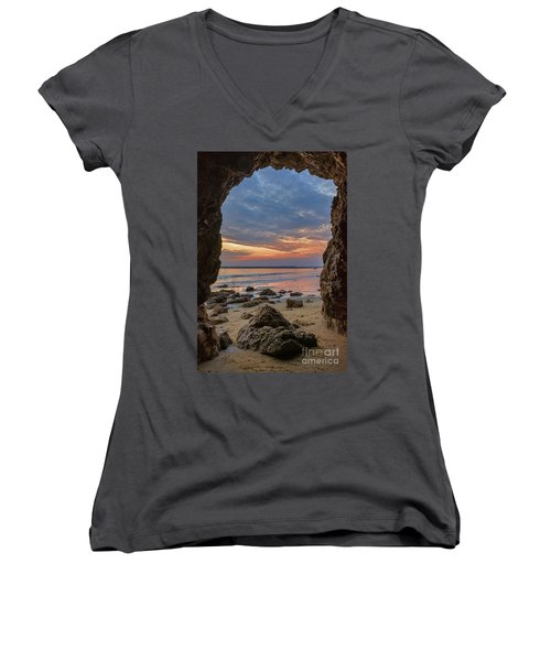 Cloudy Sunset At Low Tide Women's V-Neck (Athletic Fit)