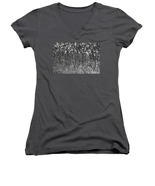 Cotton Abstract In Black And White Women's V-Neck T-Shirt (Junior Cut) by Kathy Clark