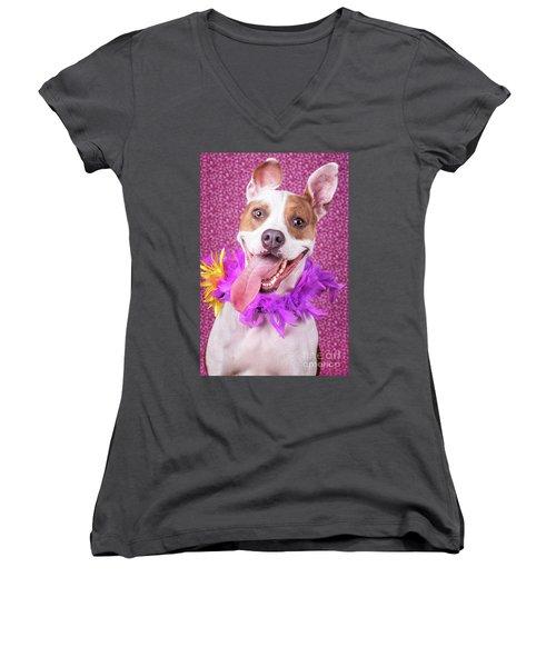 Hapy Dog Women's V-Neck T-Shirt