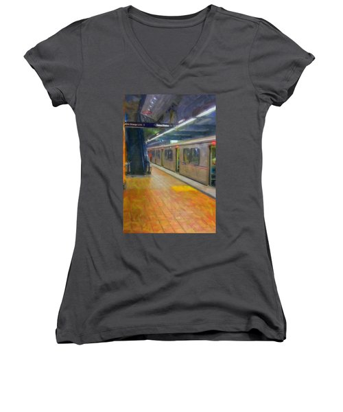 Women's V-Neck T-Shirt (Junior Cut) featuring the photograph Hollywood Subway Station by David Zanzinger
