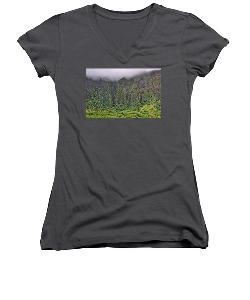 Ko'olau Waterfalls Women's V-Neck T-Shirt
