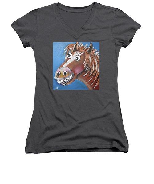 Mr Horse Women's V-Neck T-Shirt