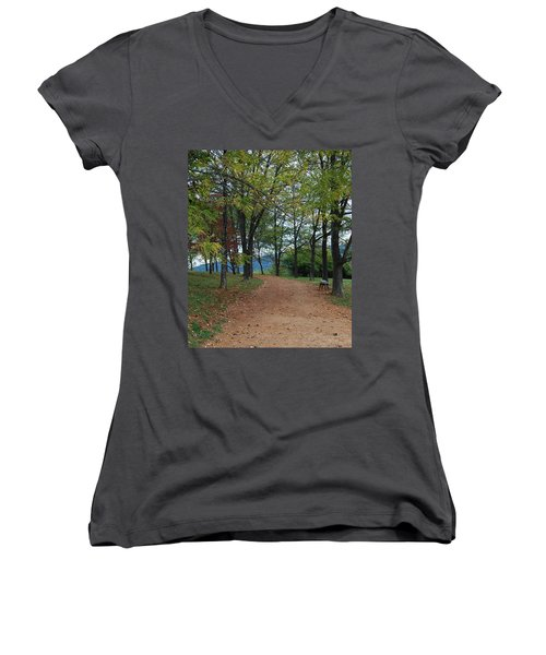 Women's V-Neck T-Shirt (Junior Cut) featuring the photograph Pathway by Eric Liller
