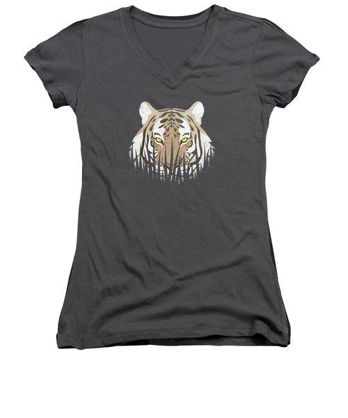 Hiding Tiger Women's V-Neck T-Shirt (Junior Cut)