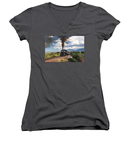 Steaming Towards La Veta Women's V-Neck T-Shirt