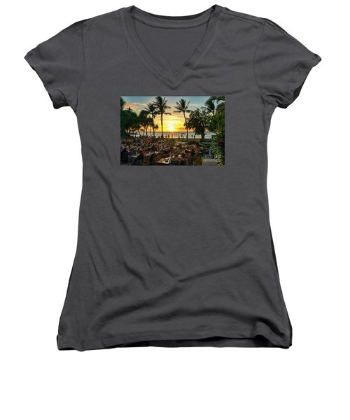 Sunset At Old Lahaina Luau #1 Women's V-Neck (Athletic Fit)
