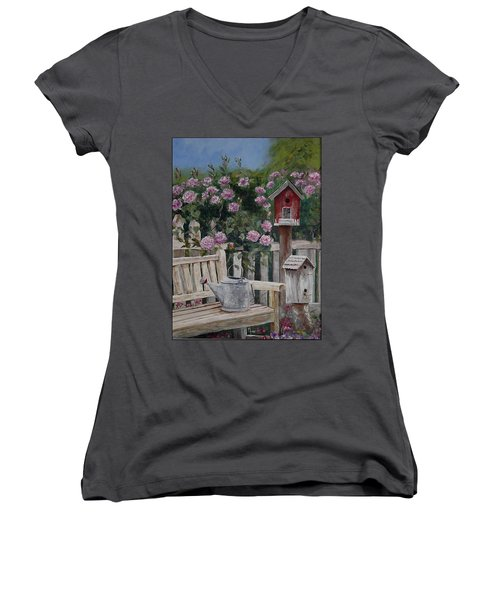 Take A Seat Women's V-Neck T-Shirt (Junior Cut) by Mary-Lee Sanders