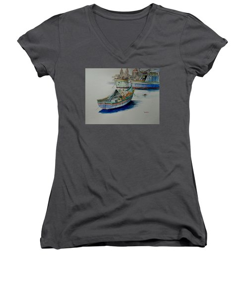 Women's V-Neck T-Shirt (Junior Cut) featuring the painting The San George by Ray Agius