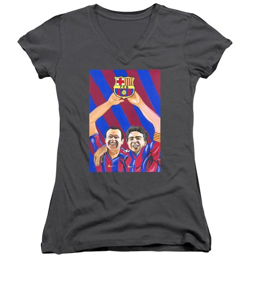 Women's V-Neck T-Shirt (Junior Cut) featuring the painting Xavi And Iniesta by Emmanuel Baliyanga