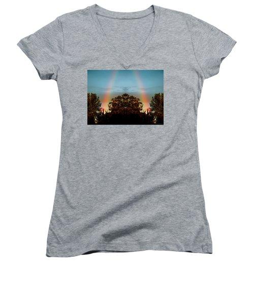 The Rainbow Effect Women's V-Neck T-Shirt (Junior Cut) by Sue Stefanowicz