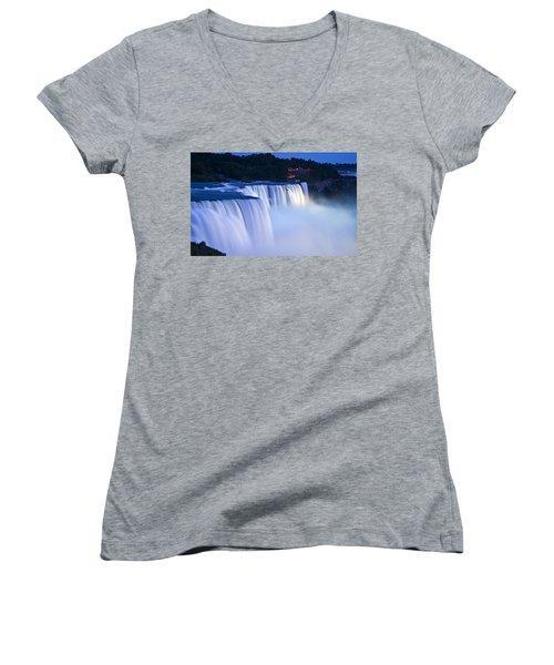 American Falls Niagara Falls Women's V-Neck T-Shirt (Junior Cut)