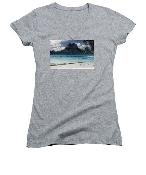 Women's V-Neck T-Shirt (Junior Cut) featuring the photograph Bora Bora by Mary-Lee Sanders