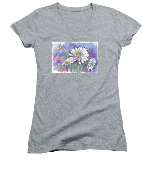 Women's V-Neck T-Shirt (Junior Cut) featuring the painting Daisy Three by Cathie Richardson