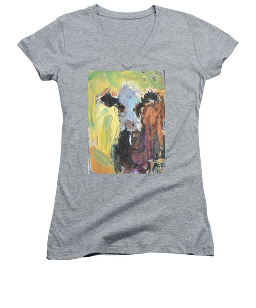 Expressive Cow Artwork Women's V-Neck T-Shirt (Junior Cut) by Robert Joyner