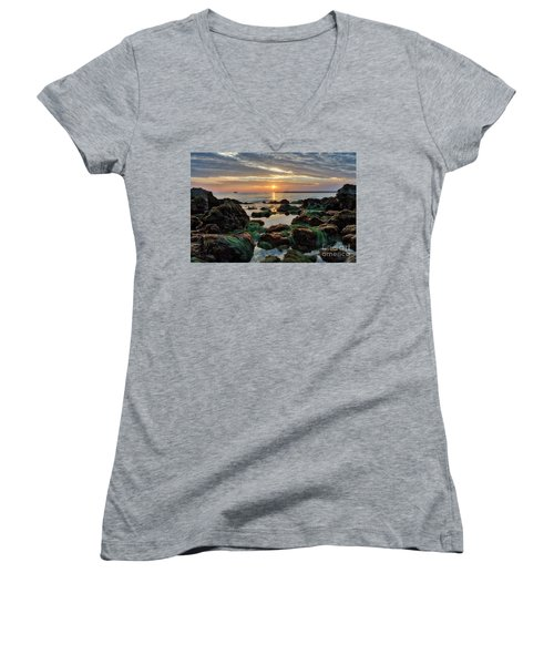 First Sunset Of 2018 Women's V-Neck (Athletic Fit)