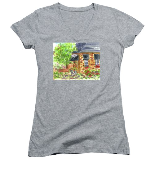 Women's V-Neck T-Shirt (Junior Cut) featuring the painting Lila's Cafe by Cathie Richardson