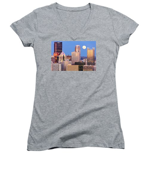 Moon Over Pittsburgh 2 Women's V-Neck T-Shirt (Junior Cut) by Emmanuel Panagiotakis