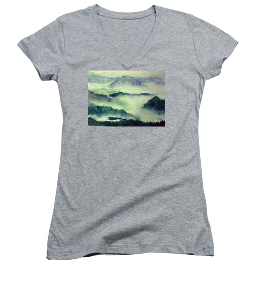 Women's V-Neck T-Shirt (Junior Cut) featuring the painting Mountain Oriental Style by Yoshiko Mishina
