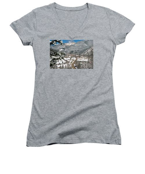 Red River In Winter Women's V-Neck T-Shirt