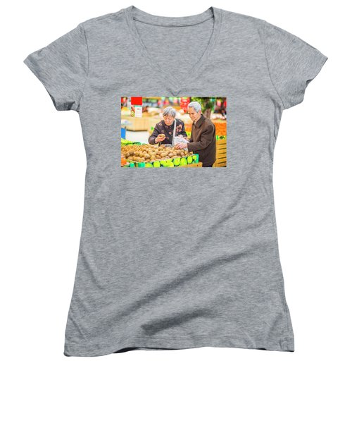 Senior Man And Woman Shopping Fruit Women's V-Neck (Athletic Fit)