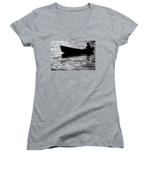 Women's V-Neck T-Shirt (Junior Cut) featuring the photograph The Old Fishermen by Pedro Cardona