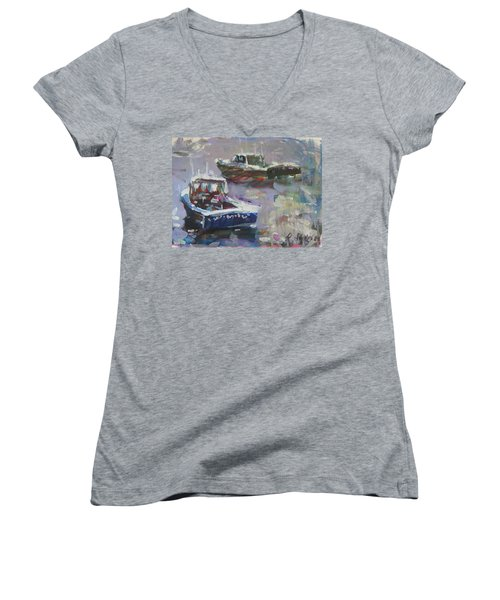 Women's V-Neck T-Shirt (Junior Cut) featuring the painting Two Lobster Boats by Robert Joyner