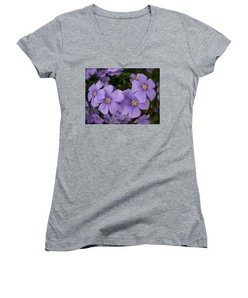 Vinca Under Glass Women's V-Neck T-Shirt (Junior Cut) by Sue Stefanowicz