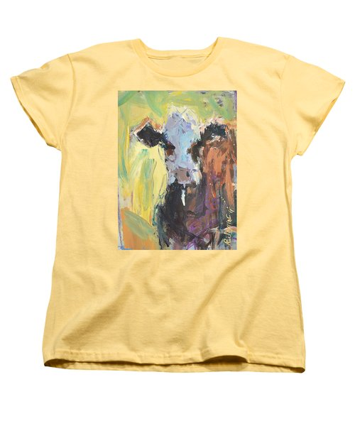Women's T-Shirt (Standard Cut) featuring the painting Expressive Cow Artwork by Robert Joyner