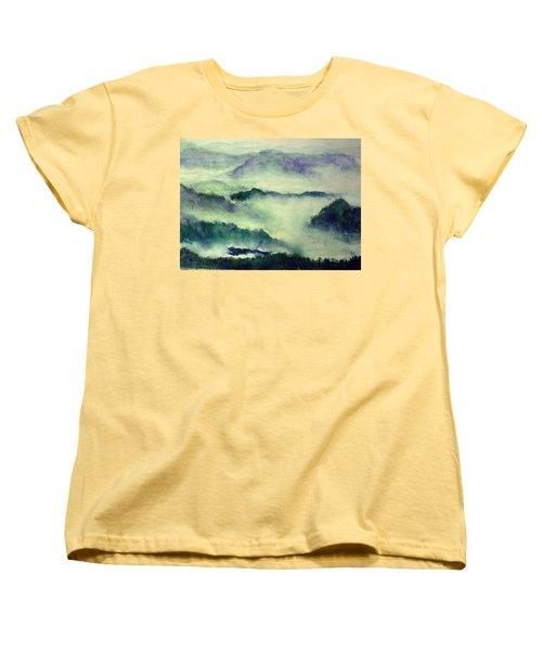 Women's T-Shirt (Standard Cut) featuring the painting Mountain Oriental Style by Yoshiko Mishina