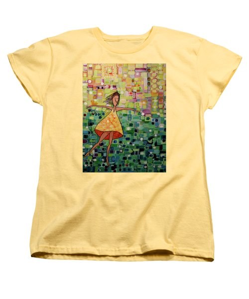 Women's T-Shirt (Standard Cut) featuring the painting Spinning by Donna Howard