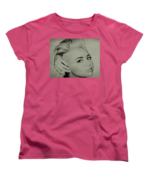 Women's T-Shirt (Standard Cut) featuring the drawing Miley Cyrus  by Brian Reaves