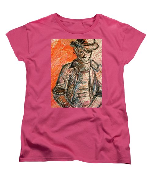 Women's T-Shirt (Standard Cut) featuring the painting Boy In Red by Cathie Richardson