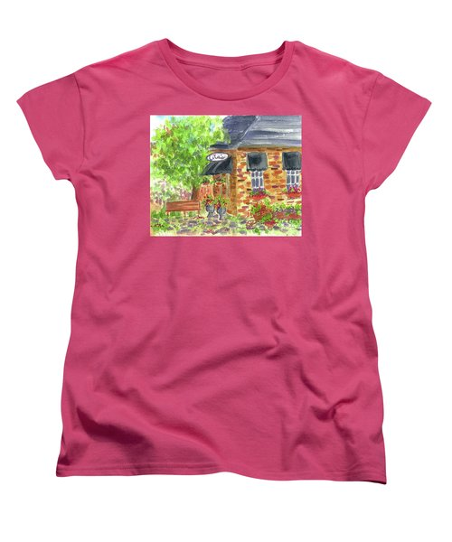 Women's T-Shirt (Standard Cut) featuring the painting Lila's Cafe by Cathie Richardson