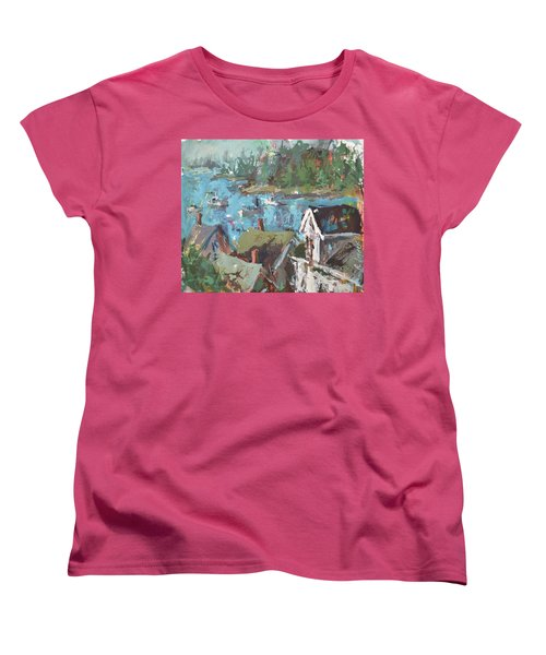 Women's T-Shirt (Standard Cut) featuring the painting Original Modern Abstract Maine Landscape Painting by Robert Joyner