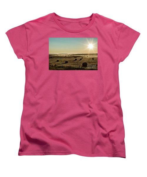 Women's T-Shirt (Standard Cut) featuring the photograph September Hay by Brad Allen Fine Art