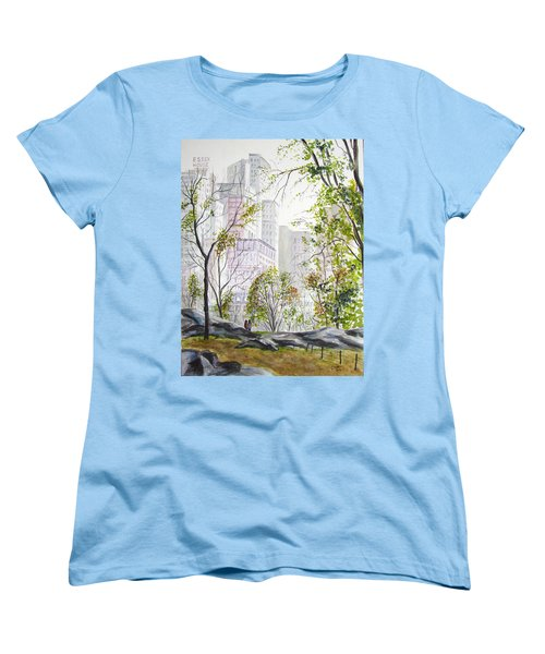 Central Park Stroll Women's T-Shirt (Standard Cut) by Clara Sue Beym
