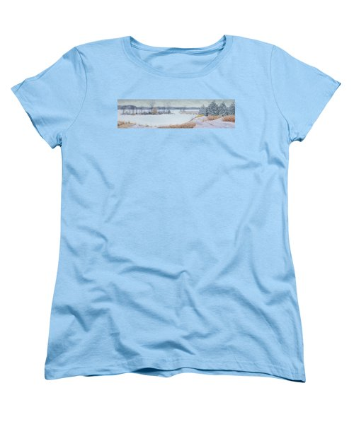 Winter Lake And Cedars Women's T-Shirt (Standard Cut) by Garry McMichael
