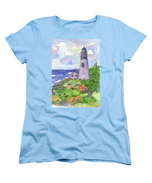 Women's T-Shirt (Standard Cut) featuring the painting Lighthouse In Summer  by Cathie Richardson
