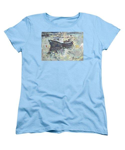 Women's T-Shirt (Standard Cut) featuring the painting Original Lobster Boat Painting by Robert Joyner