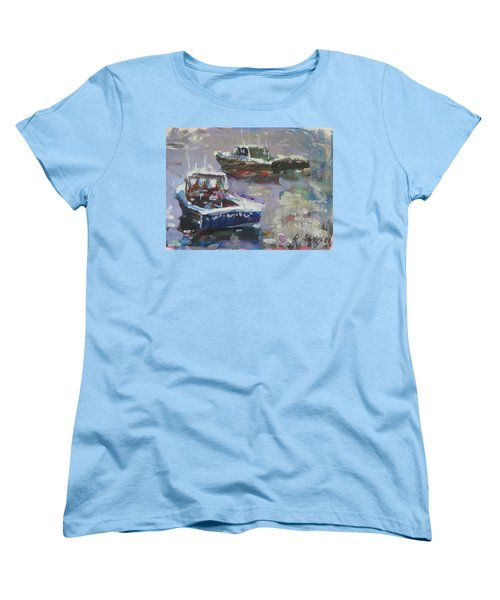 Women's T-Shirt (Standard Cut) featuring the painting Two Lobster Boats by Robert Joyner