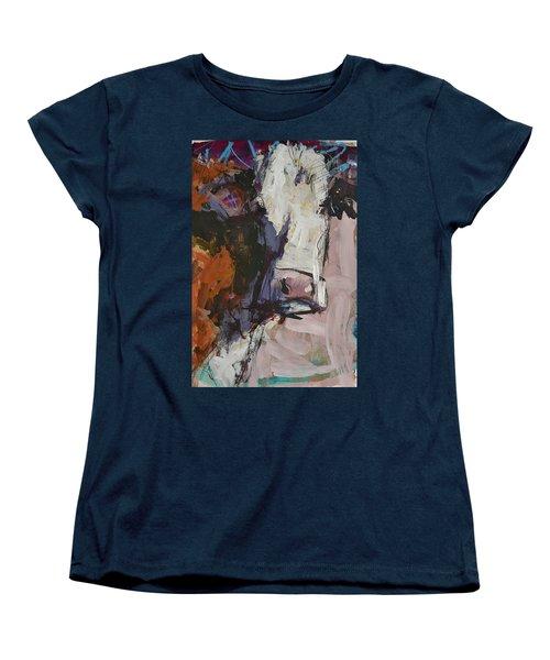 Modern Abstract Cow Painting Women's T-Shirt (Standard Cut) by Robert Joyner